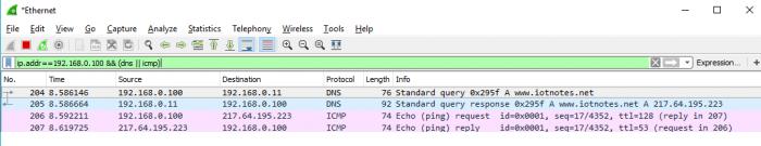 Dnsmasq DNS server - Analisi pacchetti ping